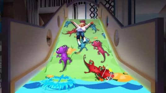 Interactive games projection slide for indoor playground
