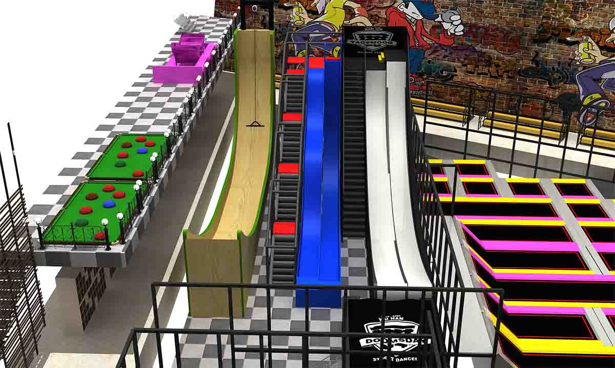 jumping in trampoline park